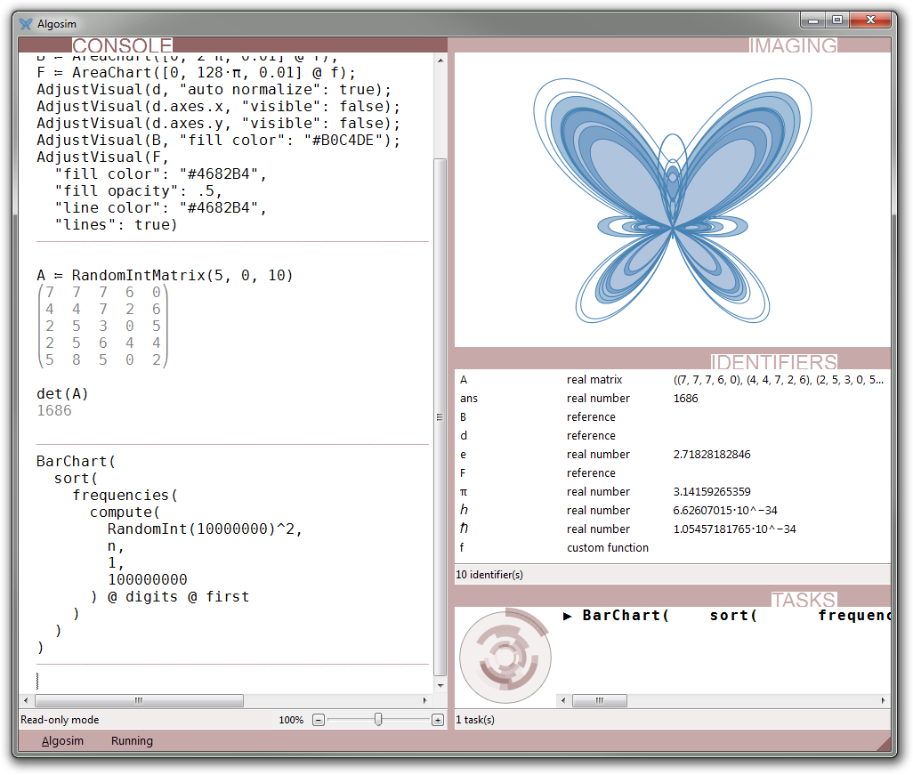 Algosim displaying the butterfly curve, a matrix determinant, and currently computing the distribution of first digits in a random list of numbers (to be displayed in a bar chart).